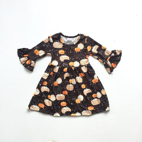 BOO Pumpkin Ruffle Dress 2t-7