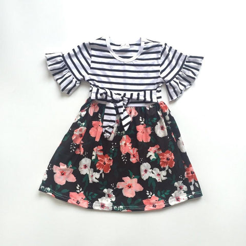 Dark Florals and Stripes Dress 12m-9