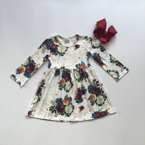 Cream and Wine Floral Dress & Bow 12m-9