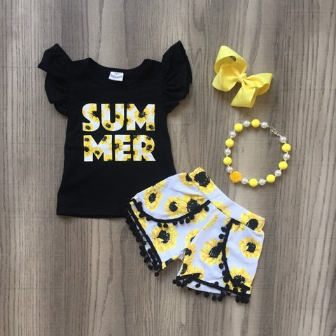 4 pc Summer Sunflower Outfit Set 12m-8