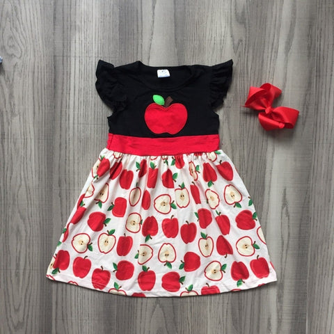 2 pc Autumn Apple Dress & Bow 4t-8
