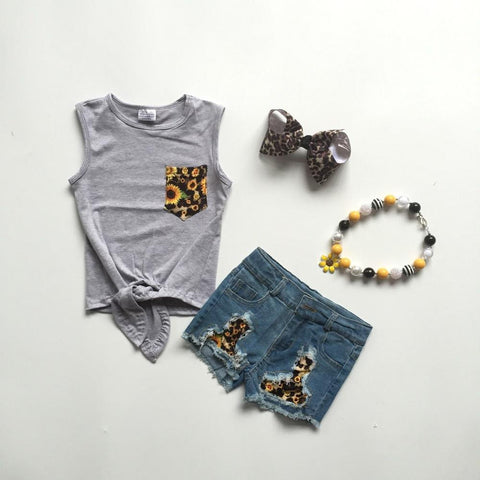 4 pc Jean Shorts and Sunshine Set 12m-8