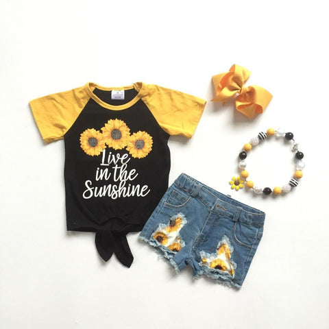 "4 pc ""Live in the Sunshine"" Outfit Set 12m-10"