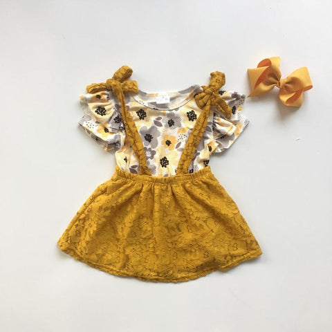 3 pc Mustard Lace Suspender Dress Set 2t-7