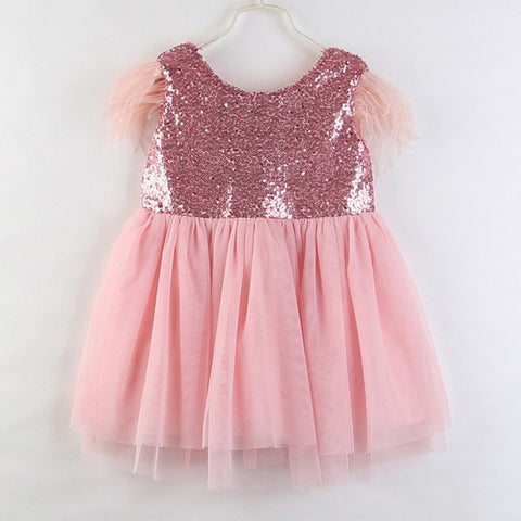 Feather Sleeved Princess Dress- 3 colors 12m-5t
