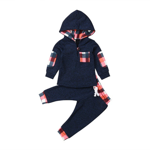 Boys 2 Piece Hooded Plaid Accent Tracksuit-Choose Between Grey and Blue-  3m-18m