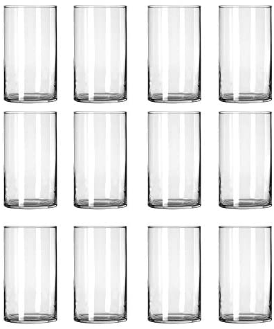 12 Pack Clear Glass Cylinder Vases, Table Flowers Vase