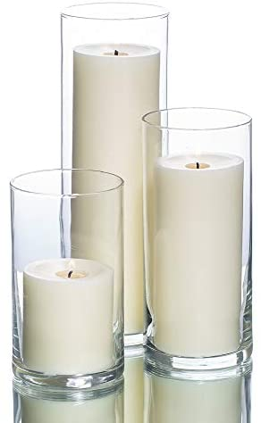 "Richland Set of 3 Glass Eastland Cylinder Vases and 3 White Pillar Candles 3"": Home & Kitchen"