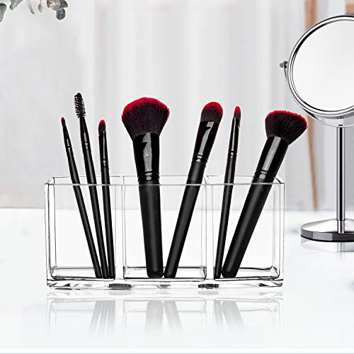 Clear Makeup Brush Holder Organizer, 3 Slot Acrylic Cosmetics Brushes Storage Solution: Beauty