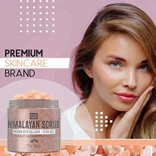 M3 Naturals Himalayan Salt Scrub Infused with Collagen and Stem Cell Natural Exfoliating Body and Face Souffle for Acne Cellulite Dead Skin Scars Wrinkles Cleansing Exfoliator 12 oz : Beauty
