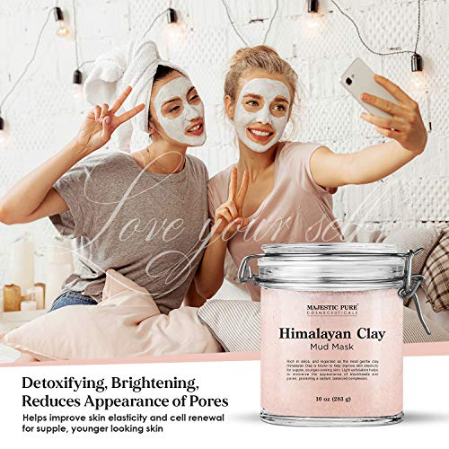 Himalayan Clay Mud Mask for Face and Body by Majestic Pure - Exfoliating and Facial Acne Fighting Mask - Reduces Appearance of Pores, 10 oz : Beauty