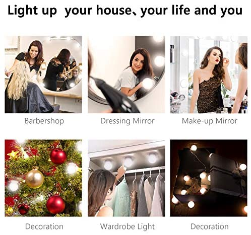 Vanity Lights with 14 Dimmable Light Bulbs Hollywood Style Vanity Lights for Mirror, LED Vanity Lights Kit with USB Powered for Makeup Mirror Dressing Room Bedroom Bathroom Wall Mirror: Home Improvement
