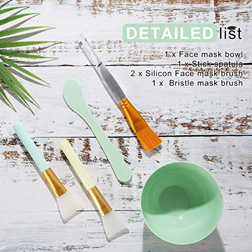 Face Mask Mixing Bowl Set, Plazuria 5 in 1 DIY Facemask Mixing Tool Kit with Facial Mask Bowl Stick Spatula Silicone Face Mask Brush & Premium Soft Face Brushes : Beauty