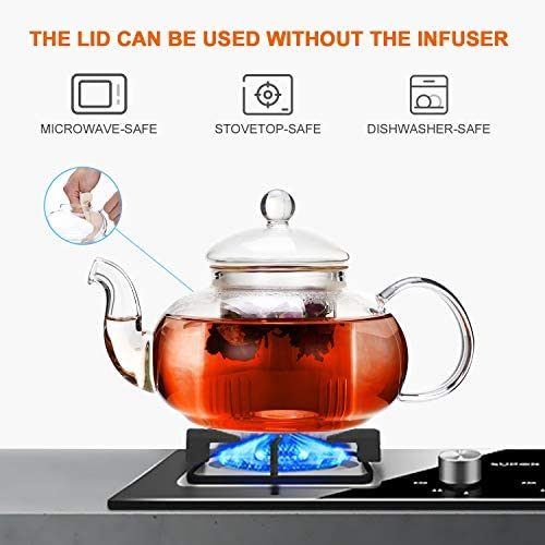 Glass Teapot Stovetop Safe, Clear Teapot with Removable Infuser 20.3 oz, Loose Leaf and Blooming Tea Maker: Teapots