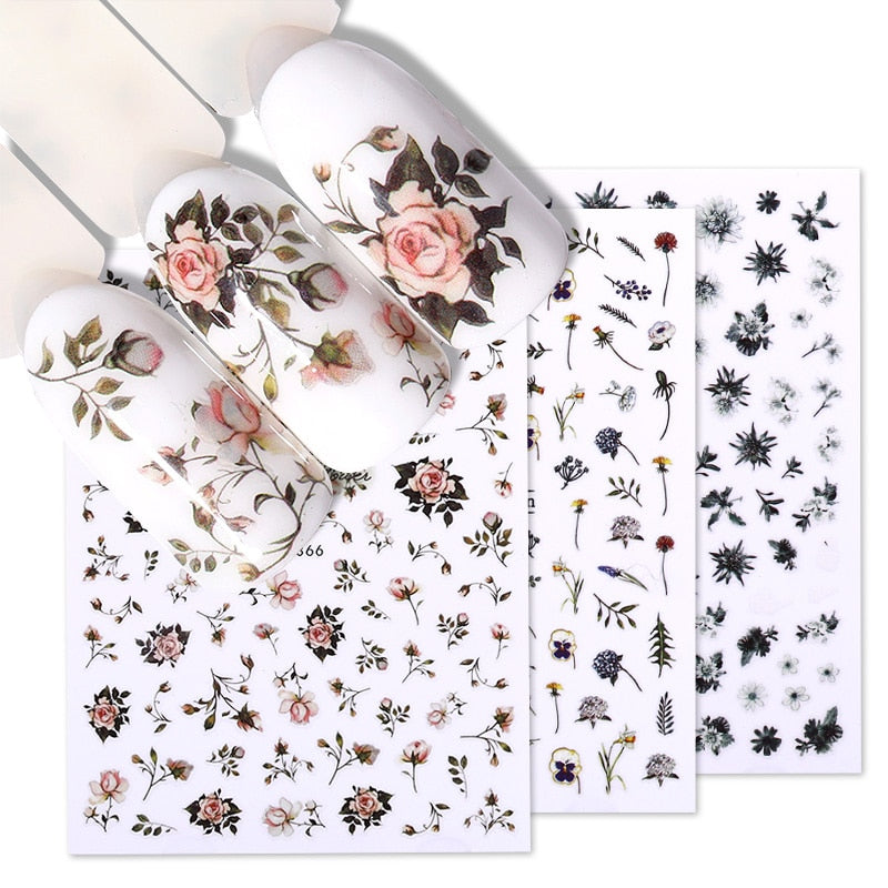 Flower Series Nail Water Decal Stickers Sakura Daisy Lavender Floral Pattern Transfer Sticker  Nail Art Decoration
