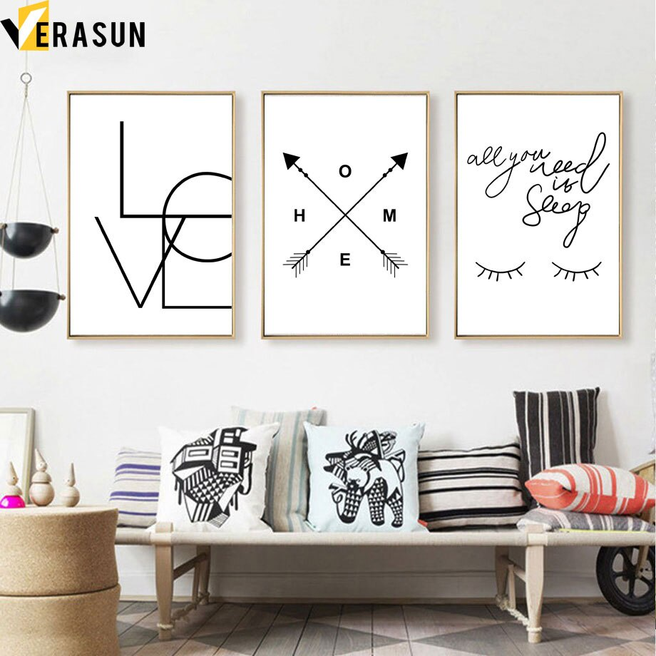 Arrow LOVE Quote Eyelash Wall Art Canvas Painting Nordic Posters And Prints Black White Wall Pictures For Living Room Home Decor