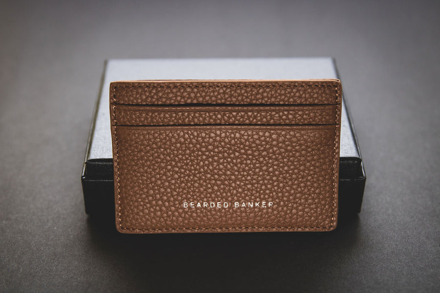 Leather Card Holder Pebble Brown