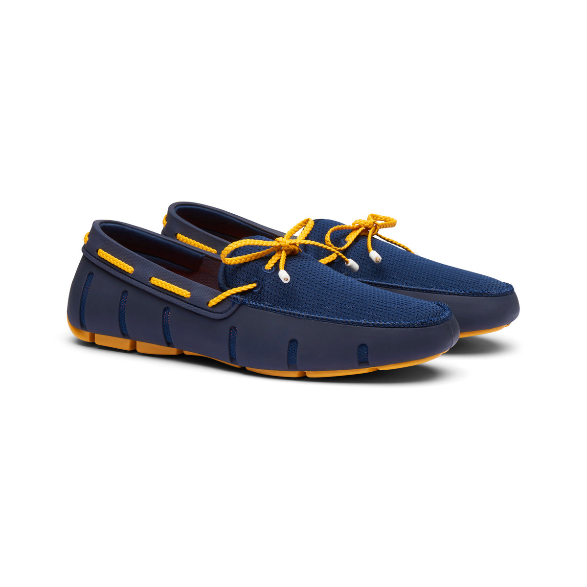 Braided Lace Loafer - background::white,variant::Navy/Gold Fusion