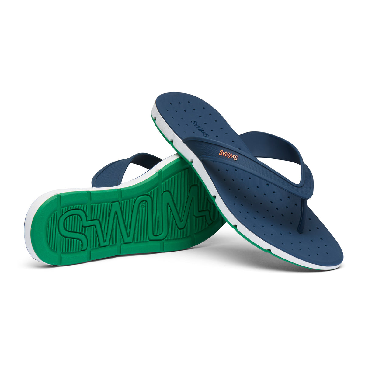 Breeze Thong Sandal - background::white,variant::Navy/Jolly Green