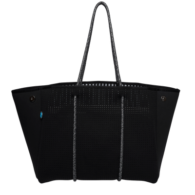 Hampton Black Neoprene Tote Bag (Stripe Inner) - $119 | CHUCHKA