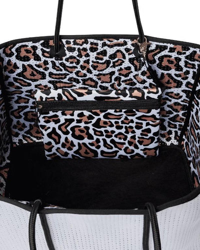 Kalli White Neoprene Beach Bag (Internal Leopard Print) - $119 | CHUCHKA