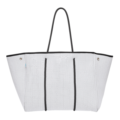 Kalli White Beach Bag (Internal Leopard Print) - $119 | CHUCHKA