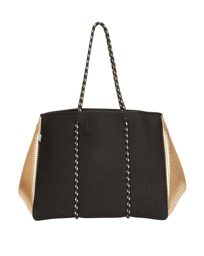 Mikah chuchka neoprene bag in black gold