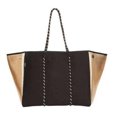 Mikah Neoprene Tote Bag (Black / Gold Metallic) - $119 | CHUCHKA