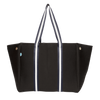 Sarah Black Neoprene Tote Bag (Striped Strap) - $119 | CHUCHKA