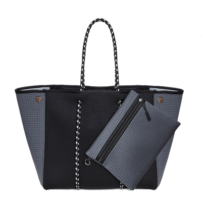 Syd Neoprene Tote Bag (Black/Grey) - $119 | CHUCHKA
