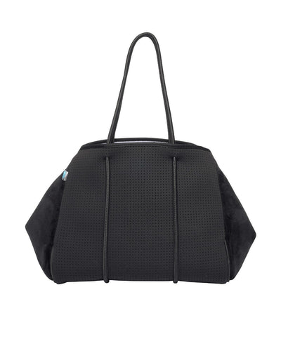 Coby chuchka neoprene bag in black with velvet sides