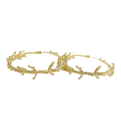 unique shaped hoop earrings in gold coral mould - chuchka jewellery