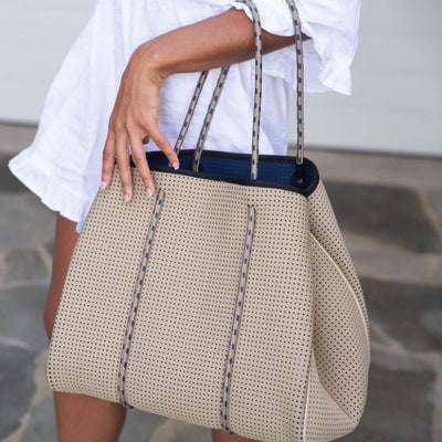 Jen Neoprene Tote Bag (Reversible) in beige and navy - for beach, travel, gym and everyday - $119  CHUCHKA