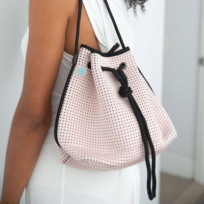 Sheri Pink crossbody Neoprene Bucket Bag for festival outings and everyday $79 USD  CHUCHKA