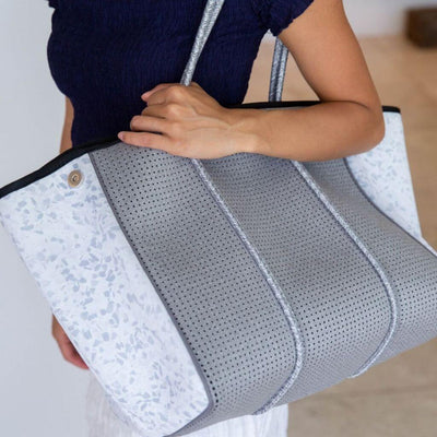 Stassi White and Grey Neoprene Tote Bag for beach, travel, gym and everyday - $119  CHUCHKA