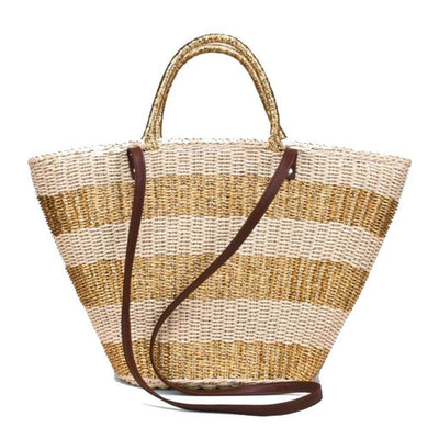 Totti Woven Beach Bag (Gold) - $119 USD | CHUCHKA