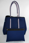 Nili Navy Neoprene Tote Bag (Double Strap)