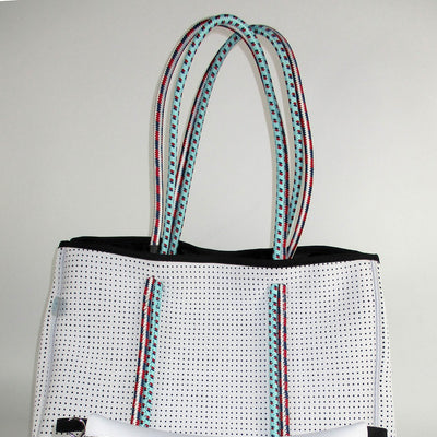 Toni White Neoprene Tote Bag (Double Strap)