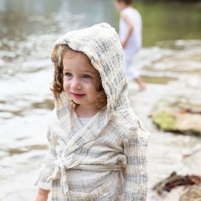 Kids Crinkle Hooded Stripe Robe
