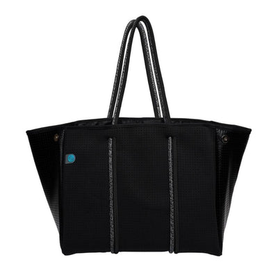 Sami Black Metallic Neoprene Tote Bag (Double Strap) - CHUCHKA