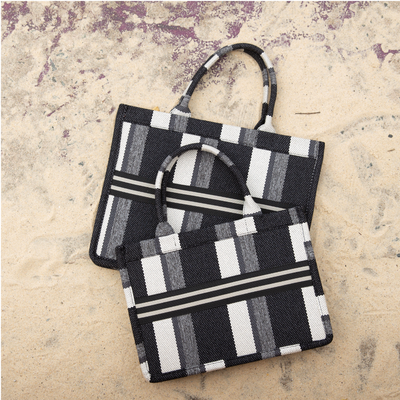 Striped Messenger Tote Small