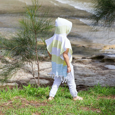 Kids Hooded Turkish Towel Poncho
