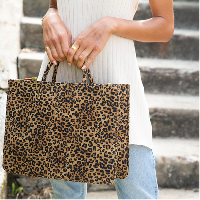 Canvas Leopard Tote Large