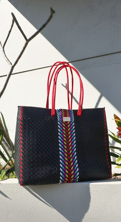 Black Marco Mexican Woven Bag (Handmade of recycled plastic) - $89 USD for shopping, beach, travel, and everyday -  CHUCHKA
