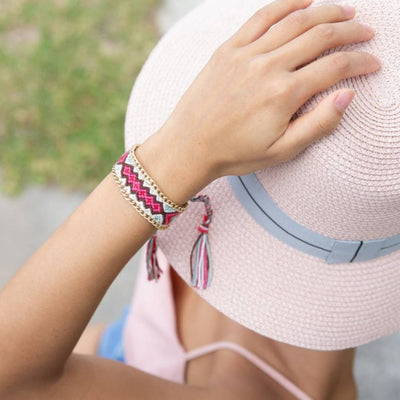 Braided Friendship Bracelet (Pink) - Chuchka Jewelry