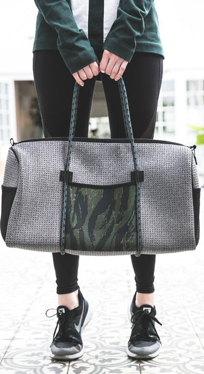 Cami Neoprene Duffle Bag (Grey  Camo) for gym, travel, weekend, sport and everyday $109 - CHUCHKA