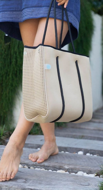 Carla beige Mini Neoprene Handbag Tote for work, gym, beach and everyday CHUCHKA