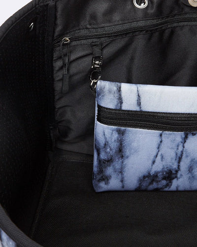 Inside of Carrara Neoprene Tote 2.0 showing Clutch