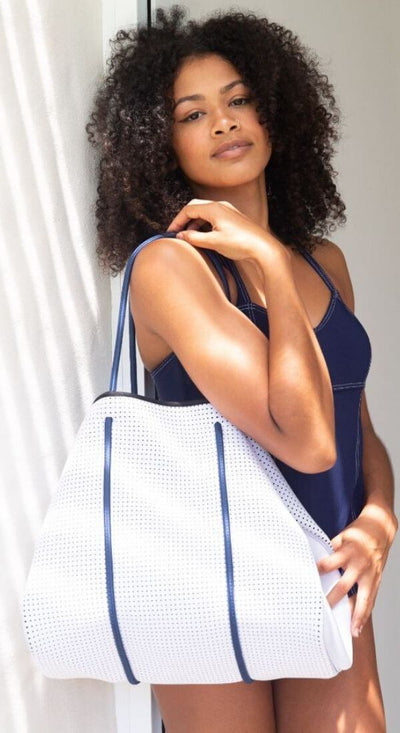 Cyndi Neoprene Tote Bag (White and Navy) for beach, travel, gym, work and everyday - $109  CHUCHKA