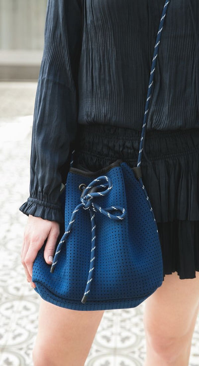 Delia Neoprene Bucket Bag (Navy) for festival outigs and everyday - $79 USD  CHUCHKA